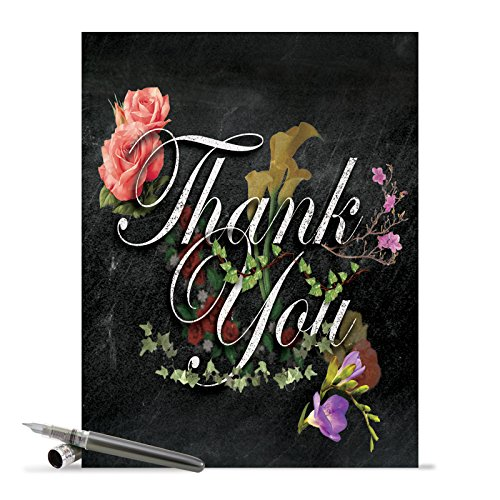 J2358ATYG Jumbo Thank You Card: Chalk and Roses With Envelope (Extra Large Version: 8.5'' x 11'')