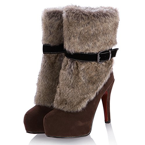 Fete Femmes Mode Eclair brown Bottes COOLCEPT Fermeture fEqdXwa5