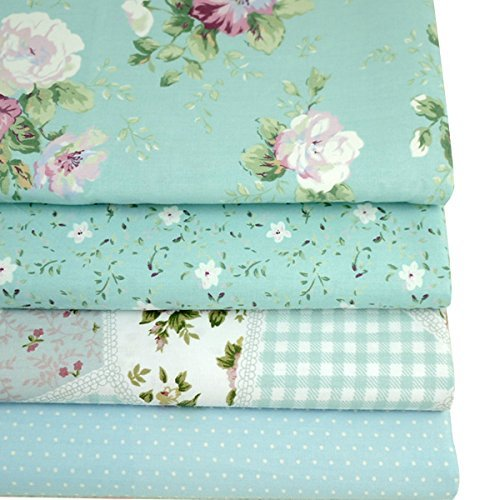 Aisa 50x50cm Blue Series Fabric Bundles Flower Printed Cotton Fabric Comfortable Patchwork Fabric Home Textile Material Cloth for Sewing by Aisa