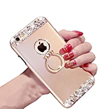 Case For Iphone 6 6S PLUS, Girlyard Shiny Bling Diamond Hard Back Phone Case Shell DIY Rhinestone Glitter Slim Cover Elegant 3D Bling Shiny Design Cute Hard Case with 360 Degree Ring Kickstand, Gold