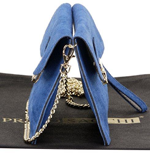 Leather Primo Sacchi or Crossbody Italian Mid Clip 2 Handbag Bag Wrist Ladies Shoulder Bag Suede Blue Push tqffdrw