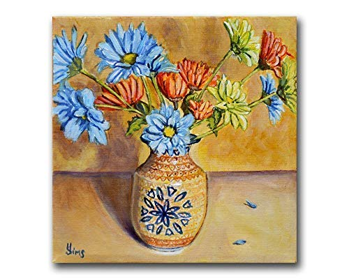 Floral Polish Pottery Still life Kitchen Art Print Giclee, Fall Moon Unikat Pattern, size mat option
