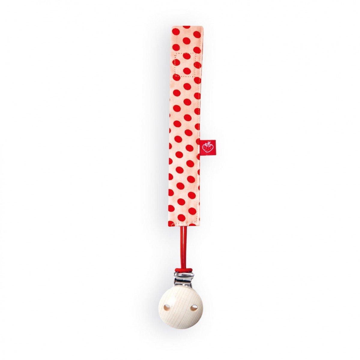 Am/élie La Fraise Rouge 4251005603284 Schnullerband inklusiv Schnullerclip orange mit roten Punkten