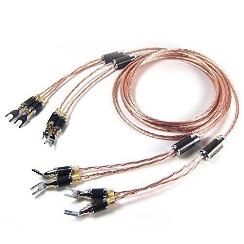 HiFiKing Hiend Teflon OCC Copper Speaker Cable With Carbon Fiber Spade Plugs, 2.5 Meter (Teflon Copper Wire)