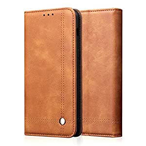 FYXKGLan for Samsung Galaxy A70 Case, Retro Crazy Horse Texture Leather Protective Flip Wallet Case with Bracket & Card Slot for Samsung Galaxy A70 (Color : Brown)