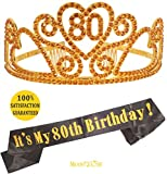 80th Birthday Gold Tiara and Sash, HAPPY 80th Birthday Party Supplies, 80th Black Gold Glitter Satin Sash and Crystal Tiara Birthday Gold Crown for 80th Birthday Party Supplies and Decorations (Gold)