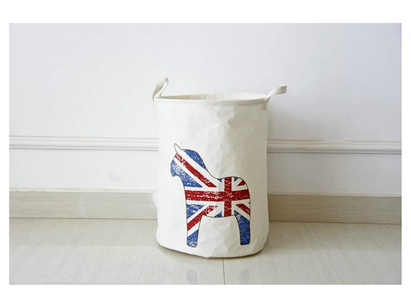 Storage Box Pony Pattern Storage Bucket Cotton and Linen Bucket Cloth Storage Bucket Sundries Storage Bucket Laundry Basket(White)