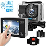Action Camera, Tintec 4K Touchscreen Sports DV Ultra HD WiFi Camcorder/16MP 170°Wide Angle/2'' LCD/2Pcs 1050mAh Batteries/2.4G Remote/30m Waterproof housing for Diving Skiing Cycling