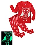 IF Pajamas Little Girls Owl Glow-in-the-Dark 2 Piece Pajamas 100% Cotton Red Clothes Toddler Kids Pjs Size 5T