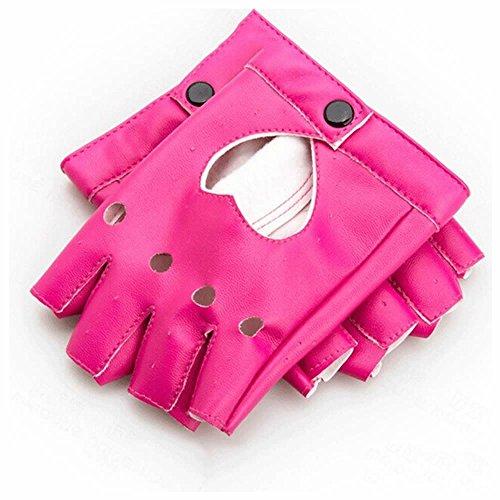 GOOTRADES Punk Fingerless Dance Glove For Women, Jazz Style Glove, PU Leather (Rose Red)