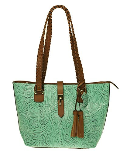 M.C. Handbags Kimbo Tooled Embossed Genuine Cowhide Leather Sea