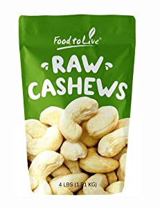 Cashew Nuts, 4 Pounds - Large Size W240, Whole Nuts, Unsalted, Kosher, Raw, Vegan, Bulk