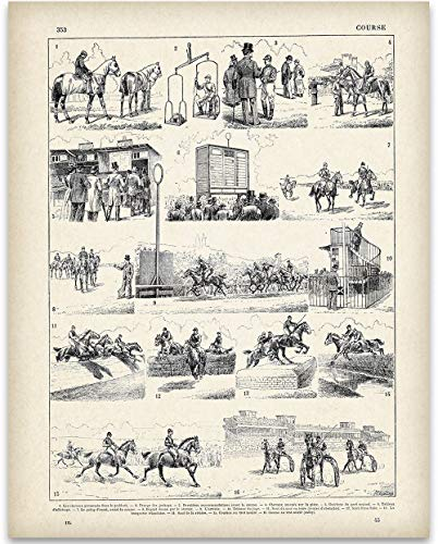 French Horse Racing Illustration - 11x14 Unframed Art Print - Great Stable Decor or Gift for Equestrian