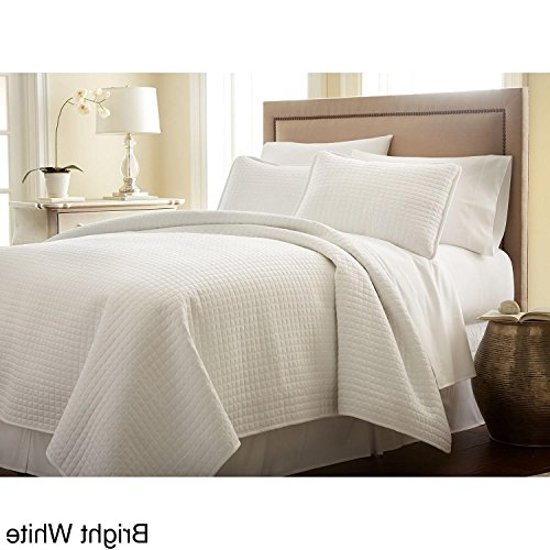 3 Piece Oversized Bright White Full Queen Quilt Set, Square Pattern Themed Bedding Cozy Beautiful Waffle Solid Plush Cottage Cabin Chic Trendy Modern Stylish Sleek Soft Trendy Rectangle, Microfiber (Bright White Waffle)