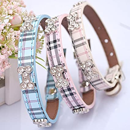 EverTrust(TM) New Designer Classical Plaid Dog Collar with Rhinestones Bling Bone for Cats