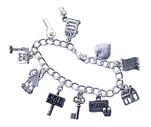 Real Estate Agent Charm Bracelet- Silver Plated Chain with Pewter House, for Sale Sign, Sold, Key Charms - Size M (7.5 Inches)