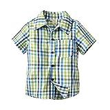 PeeNoke Baby Boy Cotton Short Sleeve Plaid Button-up Sports Shirt (7T CN 140)