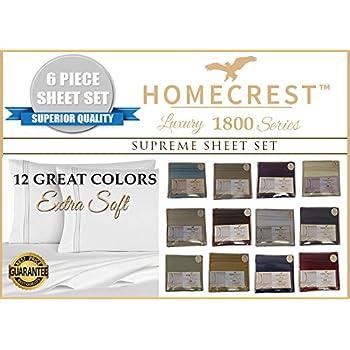 Amazon Com Homecrest Egyptian Comfort Sheet Set 6 Piece 1800 Count Solid Deep Pocket Gold