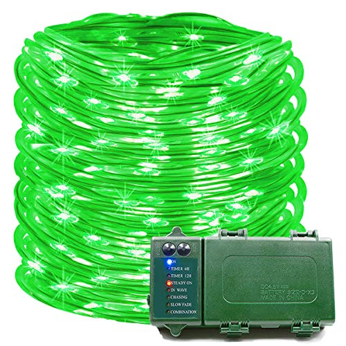 KOMOON Rope Lights 39 Ft 120 LED Battery Operated String Lights Waterproof Christmas Decorative Fairy Lights for Outdoor Indoor Party Patio Garden Yard Holiday Wedding (Green)