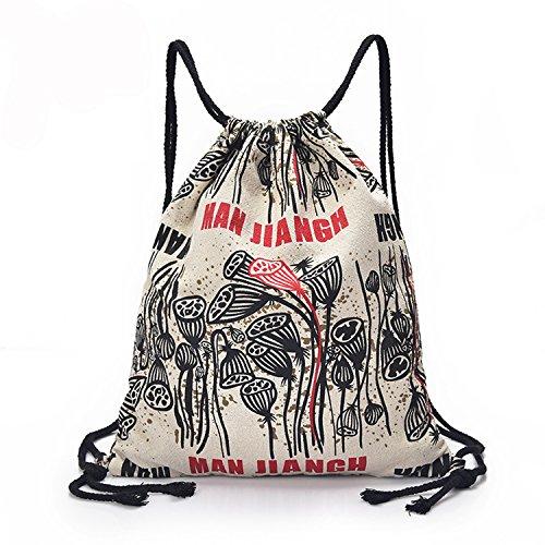 Outreo Mochilas Escolares Mujer Vintage Backpack Casual Bag Grandes Bolsos Bandolera de Viaje bolsos de Mano Bolsos de Tela para Colegio Escuela Blanco