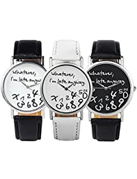 3pcs New Arrival Leather Strap Watch Whatever I Am Late Anyway Women Watch Geneva Watches Quartz Watch