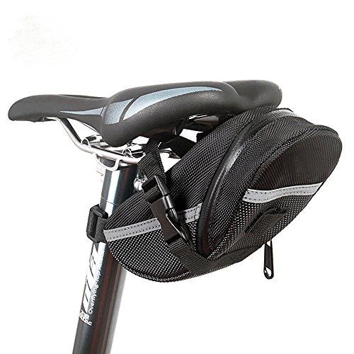 KOLPCTT Waterproof Mountain Bicycle Rear Seat Pack, Bike Saddle Bag / Handlebar Bag / Strap-on Bag / Toolkit, Black