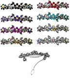 Set of 8-8 Pack Barrettes, Total 8 Barrettes Decorated with Sparkling Stones in 8 Colors U86250-1366-8