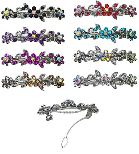 Set of 8-8 Pack Barrettes, Total 8 Barrettes Decorated with Sparkling Stones in 8 Colors U86250-1366-8 by Bella