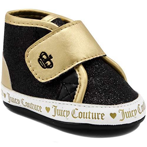 Juicy Couture Kids JC Baby Santa Cruz Prewalker Girls Black & Gold Fashion Adjustable Strap Strap Crib Sneakers, Soft Sole Shoes 4 Infant