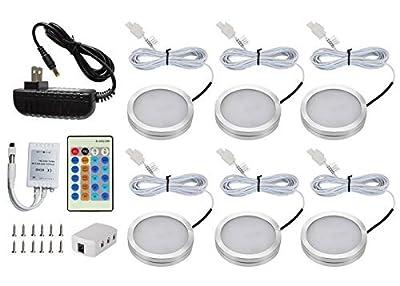 DQDF 6 Pcs Dimmable Under Cabinet Lighting kitchen lighting Energy Saving LED Kit (Warm White)