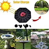 Solar Powered Bird Bath Fountain Pump for Garden and Patio, Free Standing 1.4W Solar Panel Kit Water Pump, Outdoor Watering Submersible Pump Iusun with 4 Different Spay Heads (Black)