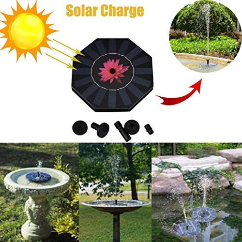 Solar Powered Bird Bath Fountain Pump for Garden and Patio, Free Standing 1.4W Solar Panel Kit Water Pump, Outdoor Watering Submersible Pump Iusun with 4 Different Spay Heads (Black) by Iusun