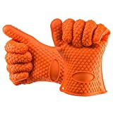 Heat Resistant Silicone BBQ & Kitchen Cooking Gloves * Heat Resistant up to 425 F (Approx. 218 degrees C) * Dishwasher Safe, FDA Approved and BPA Free * Perfect Replacement for Oven Mitts *
