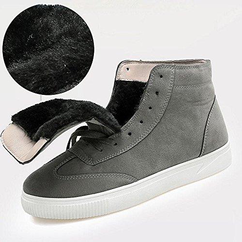Men's Shoes Feifei Winter Keep Warm High Help Leisure Plate Shoes 3 Colors (Color : Gray, Size : EU42/UK8.5/CN43)