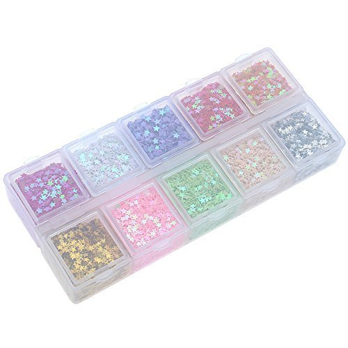 Navifoce Colorful Mini Spangles Craft Supplies Diy Drawing Decoration Ornament Decoupage Sequins Paillette (Pentagram (Sequin Ornaments)