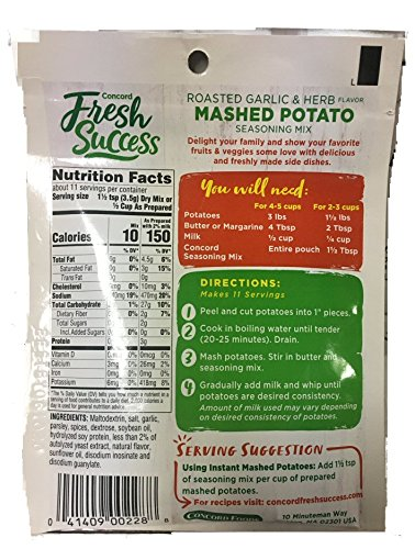 Concord Mashed Potato Seasoning Mix, 1.27-Ounce Pouches (Pack of 18)
