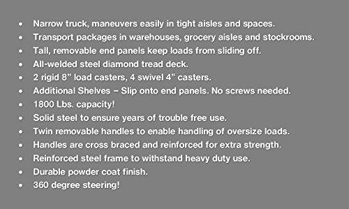 Heavy Duty, Narrow Aisle U-boat Platform Truck Dolly, 16x60 Steel Deck, 1800 Lbs. Capacity by A&D MFG (Image #2)