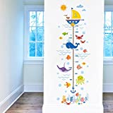 BIBITIME Underwater World Pirate Ship Height Charts Whale Octopus Algae Coral Fish Bubbles Crab Anchor Growth Chart for Nursery Bedroom Kids Room Study Classroom Living Room Porch
