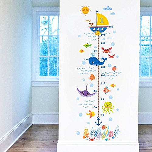 BIBITIME Underwater World Pirate Ship Height Charts Whale Octopus Algae Coral Fish Bubbles Crab Anchor Growth Chart for Nursery Bedroom Kids Room Study Classroom Living Room (Fish Chart)