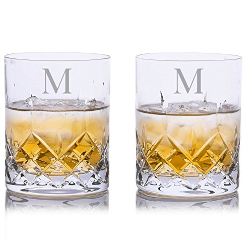 (Personalized Crystalize Cut Crystal Whiskey Rocks DOF Glass w/Titanium 2 pc. Set - Engraved & Monogrammed - Great for Groomsmen - Great Gift for Father's Day, Weddings and Groomsmen)