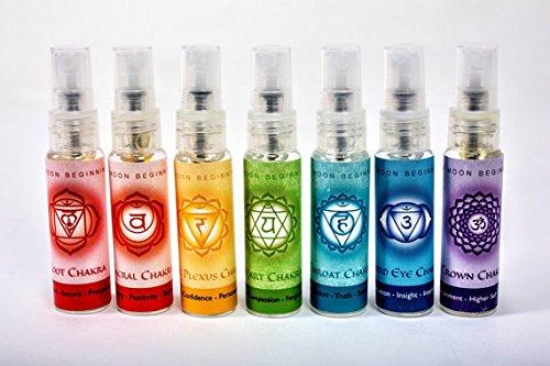 Chakra Spray Set - Balancing Body Mist & Aromatherapy Spray by New Moon Beginnings, 100% Organic Essential Oils (10 ml) by New Moon Beginnings