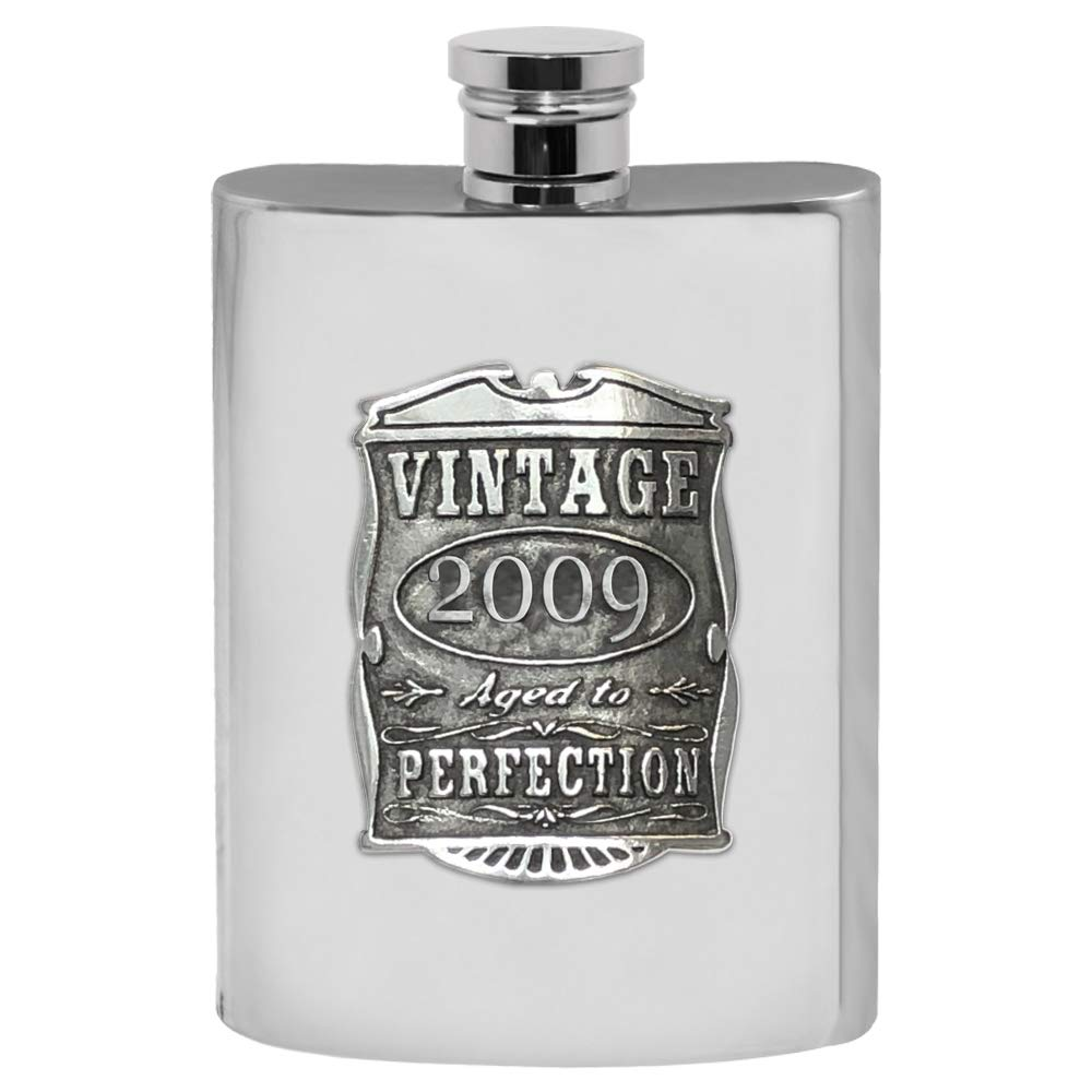 English Pewter Company Vintage Years 2009 10th Anniversary (TIN) Pewter Liquor Hip Flask - Unique Gift Idea For Men [VIN021]
