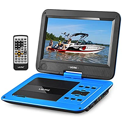 "UEME 10.1"" Portable DVD Player CD Player with Car Headrest Mount Holder, Swivel Screen Remote Control Rechargeable Battery AC Adapter Car Charger, Personal DVD Player PD-1020"
