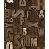 Muriva Slate Letter Brown Wallpaper by Muriva Ltd