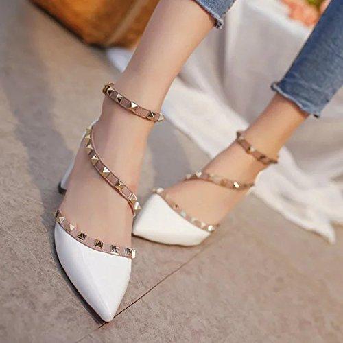 Heeled Solo Remache Zapatos Zapatos Correa Bare Ásperas Sandalias con High SHOESHAOGE con EU34 Señaló Eu39 Yoo Jeong AFpqIIw
