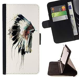 King Art - Premium-PU-Leder-Prima caja de la PU billetera de cuero con ranuras para tarjetas, efectivo Compartimiento desmontable y correa para la mu?eca FOR HTC One M9- American Indian Red Indian Feather Skull