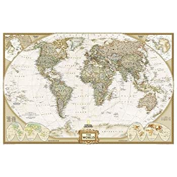 Amazon maps international giant world classic megamap world executive political wall map enlarged size tubed world map gumiabroncs Gallery