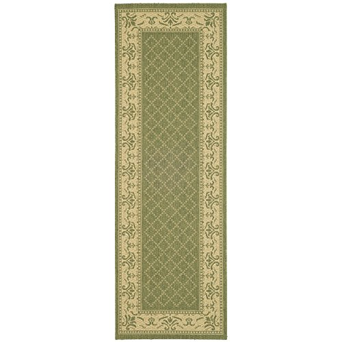 Safavieh Courtyard Collection CY0901-1E06 Olive and Natural Indoor/Outdoor Runner (2'3