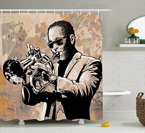 Jazz Music Decor Shower Curtain Set By Ambesonne, Grunge Style Illustration Of An African Musician With Sunglasses Playing Trumpet , Bathroom Accessories, 69W X 70L Inches, Beige - Sunglasses Illustration