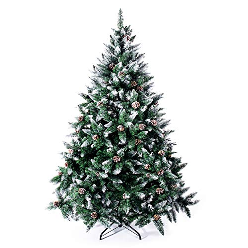 Senjie Artificial Christmas Tree 6,7,7.5 Foot Flocked Snow Trees Pine Cone Decoration Unlit(6 Foot Upgrade) (Trees Artificial Tall Christmas Thin)